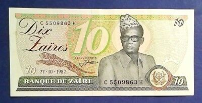 ZAIRE: 1 x 10 Zaire Banknotes (1982) - Extremely Fine Condition
