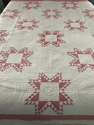 STUNNING GIFT! ANTIQUE c1880 Double Pink Feathered Stars QUILT Amazing Quilting