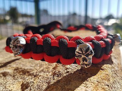Archery Bow Sling 550 Paracord Black & red  + skulls   +3 zipper pulls
