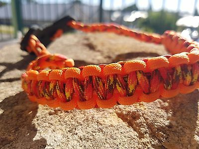 Archery Bow Sling 550 Paracord ORANGE SUN BURST & ORANGE+skulls+3 zipper pulls