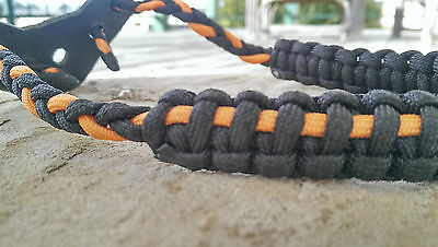 Archery Bow Sling 550 Paracord  Black & Orange  +3 zipper pulls