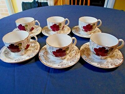 J and G Meakin Studio Violet Rose and Gold filligree design-6 cups and saucers