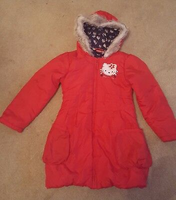 Girls Hello Kitty Red Winter Warm Coat Age 7-8 Years Good Condition