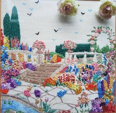 Vintage Hand Embroidered Framed Picture/Panel with English Country Garden