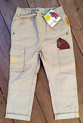 Toddler Boys Gruffalo Combat Style Trousers Beige 1.5-2 Years Brand New w Tags