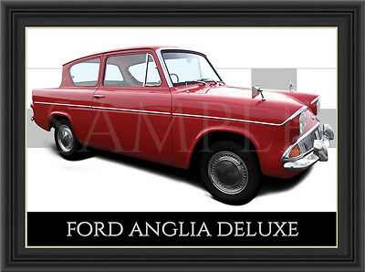 Ford Anglia Car  Poster  Print  Picture  Art New Laminated