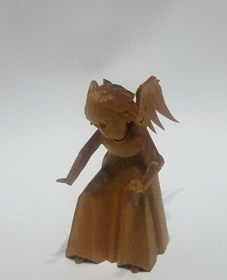 OBERAMMERGAU Hand carved miniature Angel playing piano aug.1950 Germany
