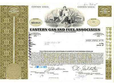 Eastern Gas and Fuel Associates stock certificate