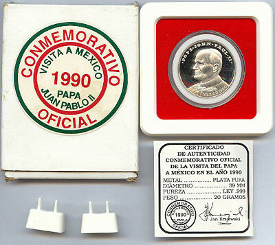 Mexico 1990 Pope John Paul ll, Virgen de Guadalupe Silver Commemorative, Box+COA