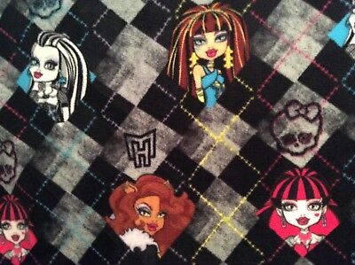 "Monster High Girls Anti-Pill Fleece Fabric on black and gray, 60""w, sold BTY"