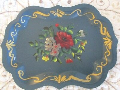 Vintage French Teal Blue Hand Painted Red Roses Dresser Vanity Metal Tole Tray