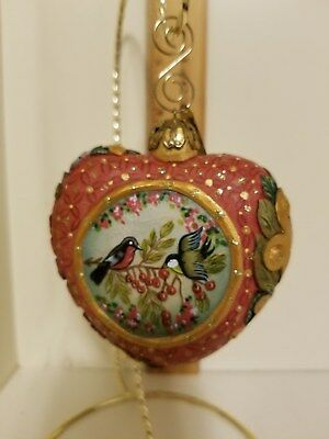 DeBrekht Christmas HEARTFUL Ornament HEART hand painted birds