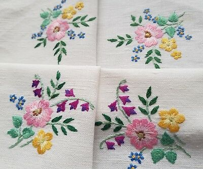 Pretty Vintage Hand Embroidered Traycloth with Flowers