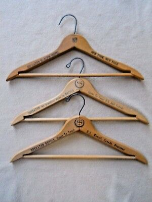 3 Vintage Sheraton Hotel Advertising Wooden Hangers / New York & Coast to Coast