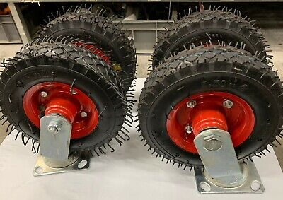 "8"" Castor WHEEL (SET OF 4 ) 2x SWIVAL 2 x FIXED   Pneumatic Caster Trolley"