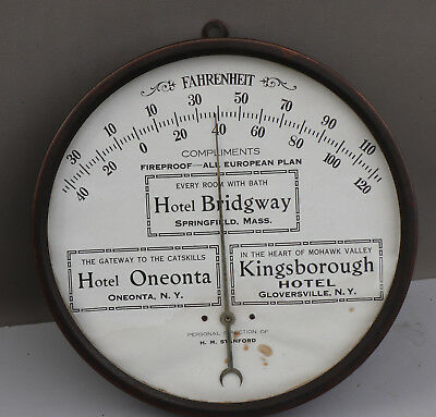 1920s Antique Brass Thermometer Hotel Bridgway, Oneonta and Kingsborough sign