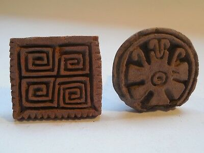 2 Chimu Pottery Stamps Pre-Columbian Antiquities Ancient Artifacts Peru Mayan