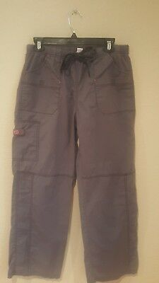 Womens Scrub Pants Bottoms Gray Solid Spread Good Cheer large