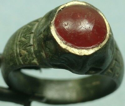 Ancient Bronze Ring W/ Stone