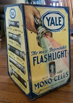 Antique YALE Flashlight  - Counter Display Cabinet - 1920's