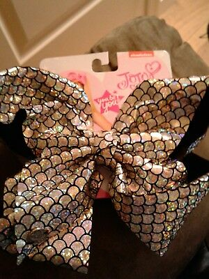 New Silver Print Holiday Jojo Silva  Clip Hair Bow , Hard To Find