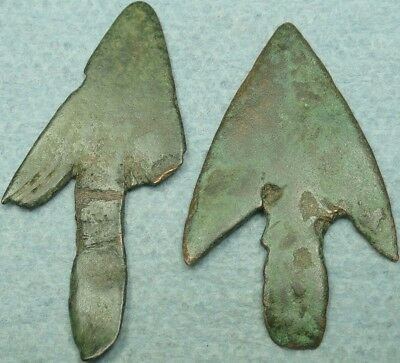 Lot Of 2 Greek Bronze Barbed Arrowheads