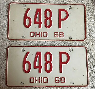 Good solid Vintage Pair Of 1968 Ohio License Plates  Lot Of 2 FREE SHIPPING