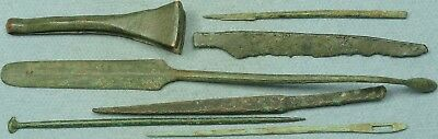 Lot Of 7 Misc. Ancient Bronze Medical / Cosmetic Tools