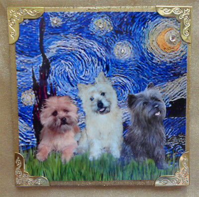 "MAGNET - 4""x4"" - Starry Night (V.Gogh) & Three Cairn Terriers by J.B. Fitzgerald"