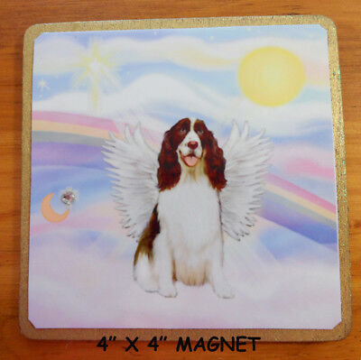 "MAGNET - 4""x4"" - St. Francis Blesses an English Springer Spaniel - by JBF"