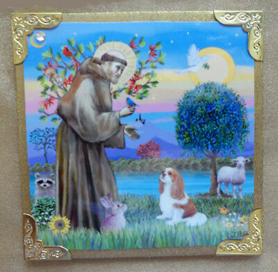 """MAGNET: 4""""x4"""" - St. Francis Blesses a Cavalier King Charles - by J.B. Fitzgerald"""