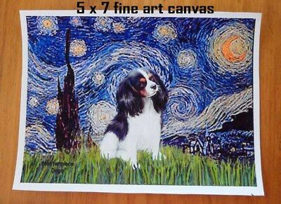 5 x 7 Print - Starry Night (V.Gogh) with a Tri Colored Cavvalier Inserted