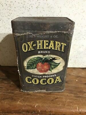 Antique Ox-Heart Cocoa Tin Litho Chocolate 8 Oz Can Vintage Candy Store
