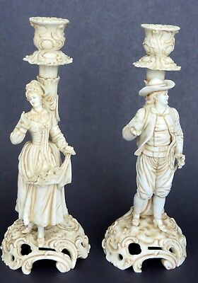 """Pair of Antique Porcelain Candlestick Figurines  - 10.5"""" - Marked """"M 18"""""""