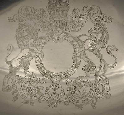 Antique English Silver Plate Eurppean Crested Serving Bowl Centerpiece Bowl