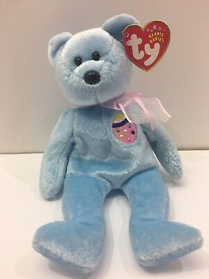 """EASTER TY Beanie Babies """"Eggs II"""" Easter Bear - Light Blue W/ Pink Bow adorable"""
