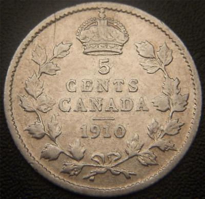 1910 Canadian Silver Five Cent - Ear, Both Bands on Crown Show, Some Gems