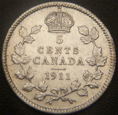 1911 Canadian Silver Five Cent - Mustache, Full Ear, Full Bands on Crown, Gems