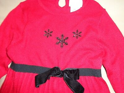 Sophie Rose Red Knit Girl's Dress Long Sleeve Dress-Washable-Size 4T