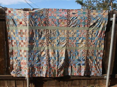 Antique Vtg 9 Square Quilt Top To Complete Feedsack Fabric 92X62 Topper Gingham