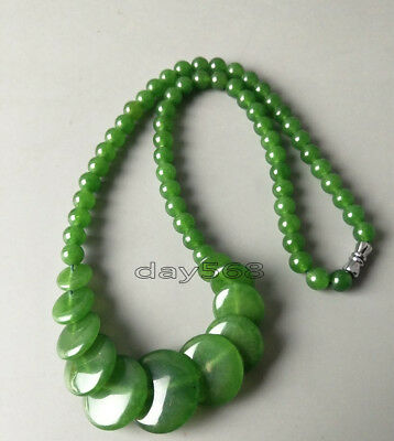 Old Collectible Oriental natural green jade beads necklace Q