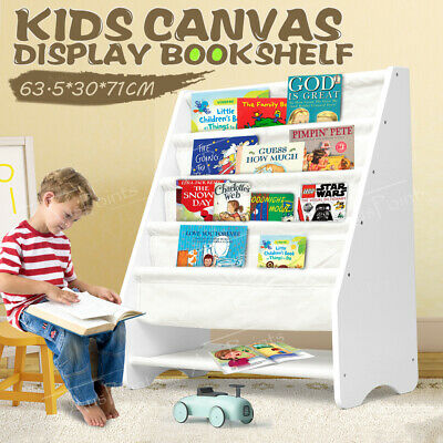 Kids Bookshelf Wooden Canvas Bookcase Storage Display Stand Rack White Organiser