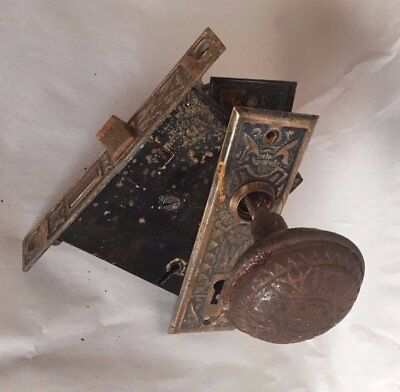 ONE Antique Eastlake Metal Door Knob Set Mortise Back Plates Old Vintage 298-17J