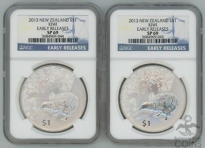 2 Coin Lot - 2013 New Zealand S$1 Kiwi Early Releases NGC SP69