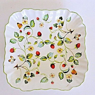 "Old Foley Strawberry 8"" Square Dish James Kent Porcelain Butterflies England"
