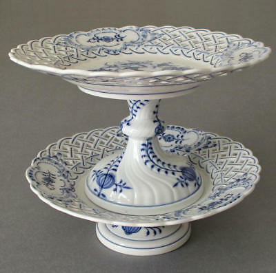 2 Antique MEISSEN HP Porcelain Reticulated Footed COMPOTES Stands * Blue Onion
