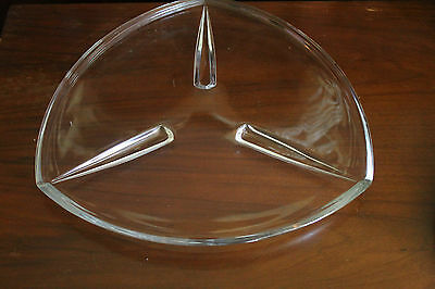 Glass Triangular Shaped 3-Footed Tray