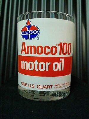 "Vintage Amoco 100 - 1 Qt.oil Can Advertising Drinking Glass / 4"" X 3-1/4"""