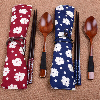 1 pair Japanese Tableware Wooden Chopsticks Spoon With Cloth Bags Set