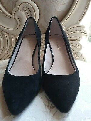 basque Black suede dress shoes size 37 worn once As New